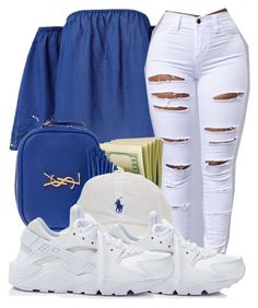 A fashion look from January 2017 featuring off-the-shoulder blouses, nike sneakers and leather purses. Browse and shop related looks. Cute Swag Outfits, Dope Outfits, Girl Outfits, Casual Outfits, Fashion Outfits, Sunday Outfits, Everyday Outfits, Everyday Fashion, Teenager Outfits