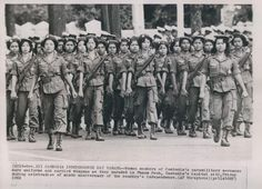 Cambodia Independence Day Parade | Phnom Penh Cambodia Women Paramilitary in Independence Parade.   Photo dated Nov 13, 1962