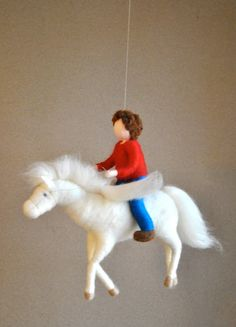 Pegasus Mobile Waldorf inspired needle felted : The Boy and