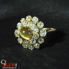 Antique cats eye chrysoberyl in a yellow gold double halo engagement ring Double Halo Engagement Ring, Engagement Rings, Semi Precious Gemstones, Natural Gemstones, Cats Eye Stone, Diamond Earrings, Brooch, Jewels, Eye Jewelry