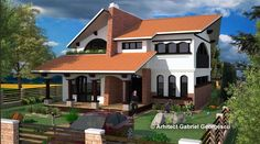 Proiecte de case cu etaj si terasa acoperita si spatioasa Modern House Facades, My House Plans, Facade House, Design Case, Exterior, House Design, How To Plan, Mansions, House Styles