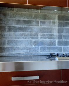 Do not want brick but would like to add color to kitchen - maybe w/fabric and glass. The glass-covered brick splashback shows a clever use of materials - the brick provides texture and the glass ensures easy maintenance Wood, House, Interior, Home, Splashback, Building A House, New Homes, Trendy Kitchen, Andrew Wood