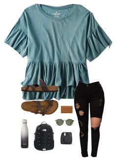 """""""About me tag"""" by trujilloxochitl on Polyvore featuring American Eagle Outfitters, Birkenstock, Tory Burch, Ray-Ban and Fujifilm #americaneagleoutfitters"""