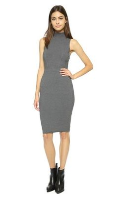 MILLY  Knit Body-Con Dress  A narrow waistband accentuates the slimmest part of the figure on a light sleeveless body-con dress topped with a graceful mock neck.