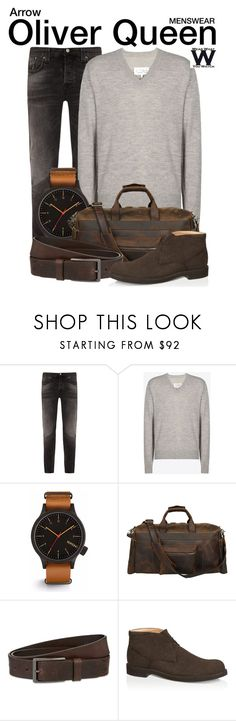 """Arrow"" by wearwhatyouwatch ❤ liked on Polyvore featuring Nudie Jeans Co., Maison Margiela, Komono, HUGO, Tod's, men's fashion, menswear, television and wearwhatyouwatch"