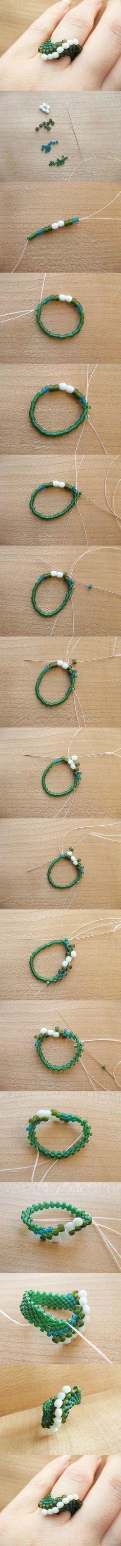 Ring of Beads Beaded Crafts, Jewelry Crafts, Handmade Jewelry, Diy Beaded Rings, Beaded Bracelets, Diy Rings, Seed Bead Jewelry, Bead Jewellery, Armband Diy