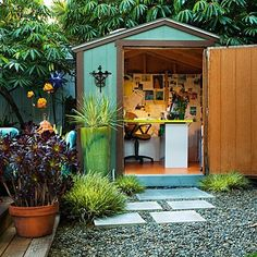 I love this idea of using an outdoor garden shed as a hobby area or office! How cool is that and much cheaper than adding on to the home! Love love love!