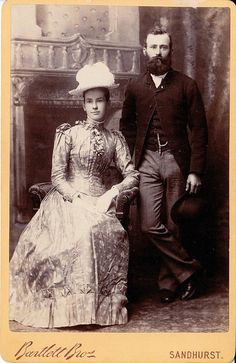Eleanor Griffiths (1864 - 1925) and George Henry Woodward Twigg (1864 - 1915) on their Wedding Day in May 1891.