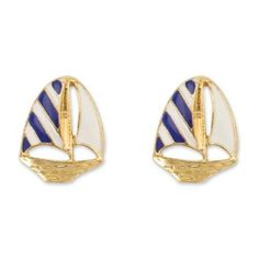 3ebcc4f42 PERIWINKLE by BARLOW Gold Navy Blue White SAILBOAT Nautical Boat Earrings  NWT Periwinkle, Sailboat,