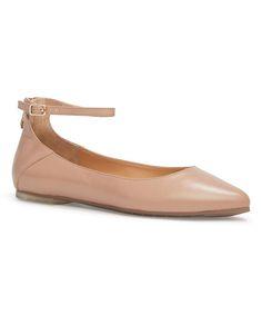 Latte Crystal Leather Ashlyn Ballet Flat