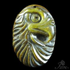 Hand-carved Eagle Tiger's Eye Stone Pendant Bead #PDN #Pendant
