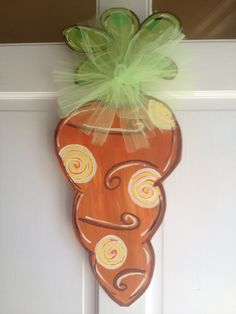 Spring carrot door hanger by DixielandDoodles on Etsy, $30.00