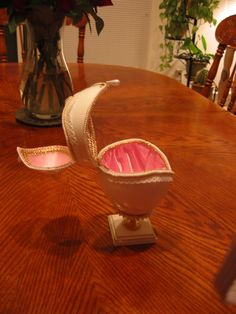 "A ""double hinged"" jewelry ""box"" egg I made using a Rhea Egg - totally opened view - designed and created by K. Kaufman"