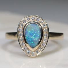 Natural Australian Solid Boulder Opal and Diamond Gold Ring Size 6.5 Code - RL30 10k Gold Ring, Gold Diamond Rings, Gold Rings, Natural Opal, Natural Diamonds, Opal Color, Green Opal, Australian Opal, Opal Jewelry
