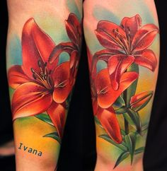 Realistic Red Orchid Tattoos