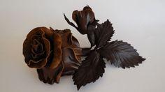 Chocolate leather roses w Lela Flowers na DaWanda.com