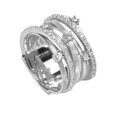 #MarcoBicego Goa 18K White #Gold & #Diamond Crossover #Ring