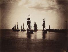 GUSTAVE LE GRAY / Bateaux quittant le port du Havre, 1856-1857