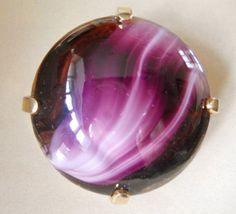 Vintage Sphinx Brooch Givre Purple Swirl Art Glass by LakeBreezes, $28.50