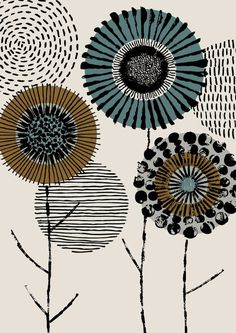 Printmaker Floral limited edition giclee print by EloiseRenouf, $25.00