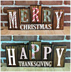 Christmas|Thanksgiving Letter Blocks | Rustic Wooden Letter Blocks |Reversible Holiday Decor | Reversible Blocks | Seasonal Decor by Bourbon Creek Crafts