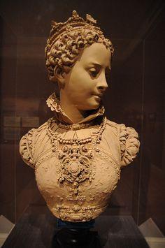 """""""Mary Stuart, Queen of Scots"""" by Albert-Ernest Carrier-Belleuse; terracotta, circa 1860-1869."""