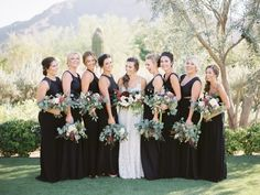 Black and burgundy winter wedding colors ideas black bridesmaid dresses, white bridal gown, white and burgundy wedding bouquets, groom and groomsmen in light grey suits with black ties, white table linens and black napkins… Black Bridesmaids, Black Bridesmaid Dresses, Burgundy Bouquet, Burgundy Wedding, Winter Wedding Colors, Designer Bridesmaid Dresses, Bridesmaid Inspiration, Arizona Wedding, White Bridal