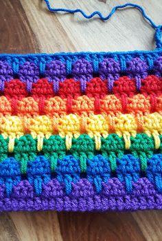 Adorable Crochet Frills Border Ideas - Rainbow Larksfoot Stitch Blanket – In Progress (see you around February – LOL) – - Crochet Square Patterns, Crochet Stitches Patterns, Crochet Squares, Crochet Designs, Knitting Patterns, Baby Afghan Patterns, Crochet Crafts, Crochet Projects, Free Crochet