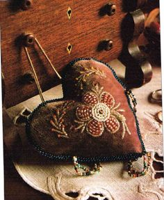 Pattern to Make GORGEOUS BEADED FLOWERS PINCUSHION ~ Embroidery PATTERN