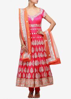 Pink color anarkali salwar kameez with orange dupatta – Panache Haute Couture