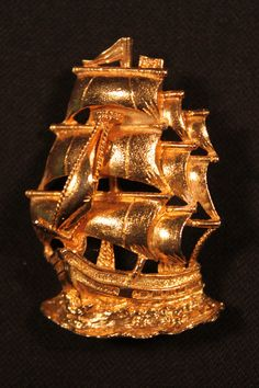 Gold Tone Sailing Ship Vintage Brooch by dianadivine on Etsy, $18.00