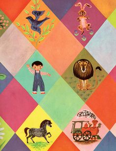Endpapers from   'Homes', illustrated by Virginia Parsons