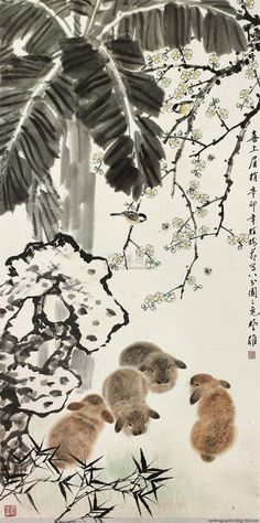 方楚雄作品集(12) - 山野村夫 - 山野村夫 Watercolor Artists, Ink Painting, Watercolor And Ink, Rabbit Drawing, Rabbit Art, Chinese Brush, Chinese Art, Chicken Ham, Sumi Ink