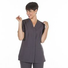 Avental Francês bicolor - Global Uniformes Scrubs, Ideias Fashion, Peplum, Dresses For Work, Jackets, Women, Apron, Colors, Down Jackets