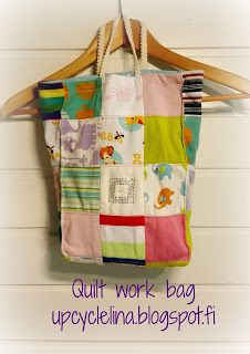 Upcycled: Bag made out of recycled kids' t-shirts.