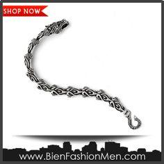 Mens Bold Bracelets   Mens Bracelets   Mens Bracelet   Mens Jewelry   Mens Accessories   Bracelets on Men   Mens Jewelery   Shop Now ♦ Stainless Steel Antiqued Dragon Bracelet - 8.25 Inch - JewelryWeb $90.40