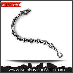 Mens Bold Bracelets | Mens Bracelets | Mens Bracelet | Mens Jewelry | Mens Accessories | Bracelets on Men | Mens Jewelery | Shop Now ♦ Stainless Steel Antiqued Dragon Bracelet - 8.25 Inch - JewelryWeb $90.40