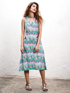 6ad741d01cf Green Hand Block Printed Cotton Choker Dress Choker Dress