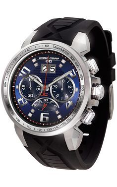 51cf2164d1a Jorg Gray JG5600-23 Men s Watch Chronograph Blue Dial With Integrated Black  Silicone Strap