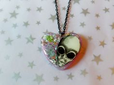 Space Grunge Alien Resin Necklace Creepy Cute by CosmicWishes