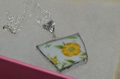 "Recycled Broken China Necklace Floral Design 24"" Chain #Unknown #Floral"