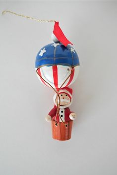Vintage Wooden Hot Air Balloon Ornament with Santa, Old World Style Christmas Decor, Christmas Gift Wooden Ornaments, Vintage Ornaments, Christmas Gifts, Christmas Decorations, Christmas Ornaments, Holiday Decor, The Balloon, Hot Air Balloon, Old World Style