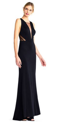 Adrianna Papell | Lola Jersey Gown with Illusion Plunging Neckline and Sides