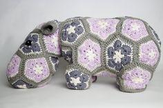 Crochet Hippo cushion door stop pillow. Extra by RupertsHouse