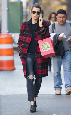 Jessica Biel from The Big Picture: Today's Hot Photos  The star chats on her phone while out and about in The Big Apple, rocking her plaid The Kooples coat.