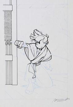 """Munuera - Spirou et Fantasio, illustration à l'encre de Chine et au crayon bleu pour le projet de couverture de l'épisode """"Spirou et Fantasio à Tokyo"""" publié aux Editions Dupuis en 2006. Le dynamisme du trait de l'artiste illustre à merveille ce récit se déroulant dans un Japon médiéval reconstitué. Signée. Dimensions du dessin : 18 x 31. Dimensions du papier : 25 x 36 - W.B. Luc Orient, Double M, Comic Illustrations, Crayon, Dimensions, Tokyo, Comics, India Ink, Film Noir"""