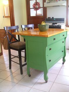 Kitchen , Small And Portable Kitchen Island Ideas : Diy Cute And Green Kitchen Island Idea Made Of Antique Dresser For Small Space