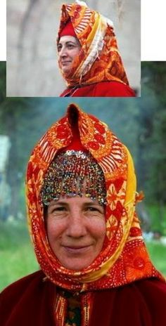 Traditional women's headgear from Karaşar (in the Beypazarı district, 130 km west of Ankara), Ethnic group: Alevi Türkmen.