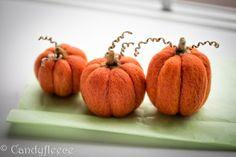 Felted Pumpkins-Fall Autumn Decor-Harvest Ornament-Thanksgiving-Halloween Decoration-Orange Felt Pumpkins-Rustic-Set of 3-Candyfleece-UK by Candyfleece on Etsy
