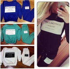 Woman Clothes sets 2015 Ballinciaga Tracksuits 2 Piece Set Women Sport Suit Hoodies Jogging Free Shipping